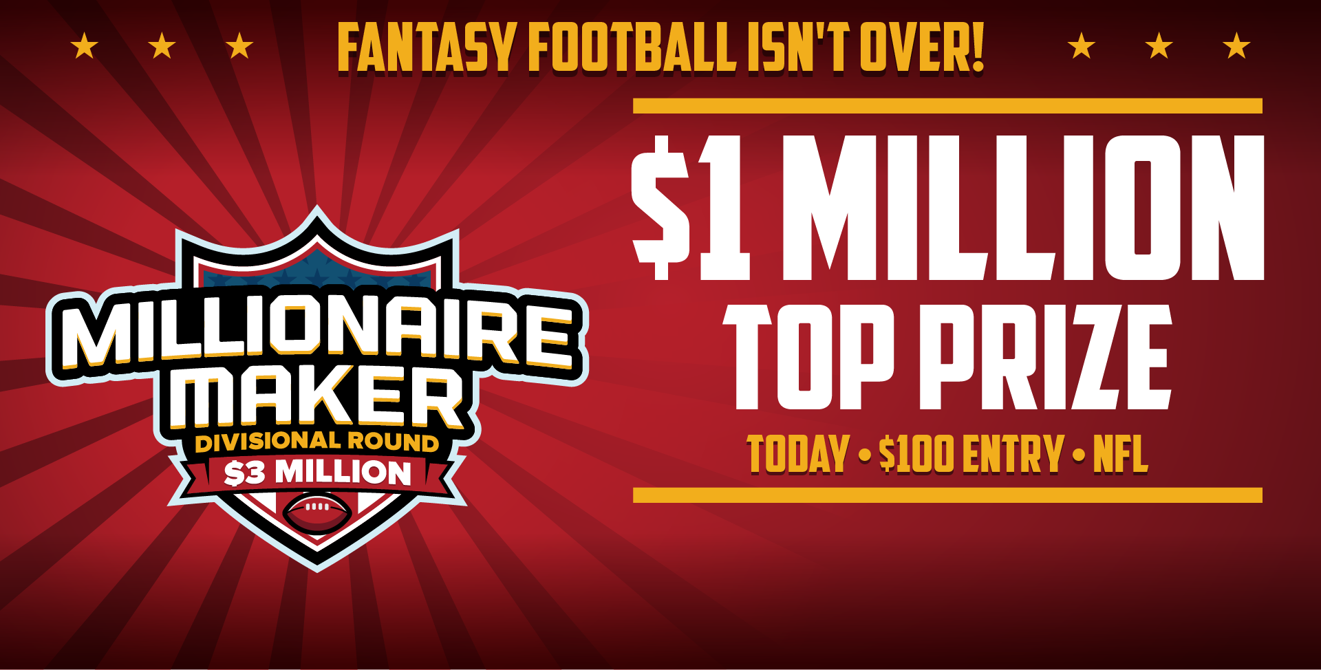Turn $20 Into $1 Million. $4MM Fantasy Football Millionaire Maker.