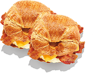 2 bacon, egg & cheese croissants