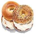 2 bagels with cream cheese spread