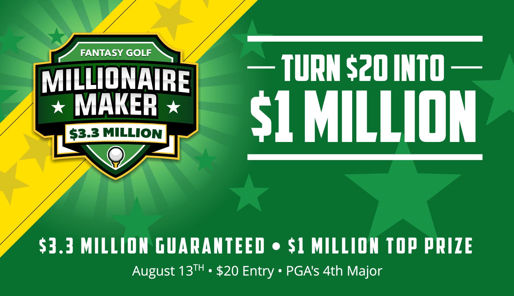 Turn $20 Into $1 Million. $10MM Fantasy Football Millionaire Maker.