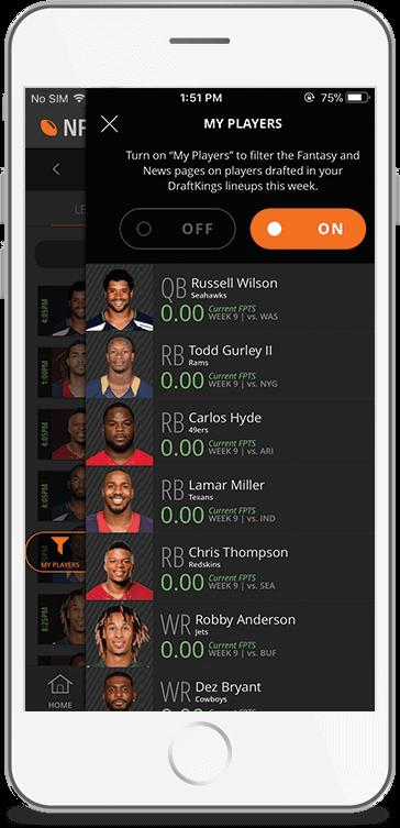 DK Live Lineup Screen